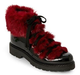 Elena Black & Bordeaux Fur-Trimmed Lace-Up Boots